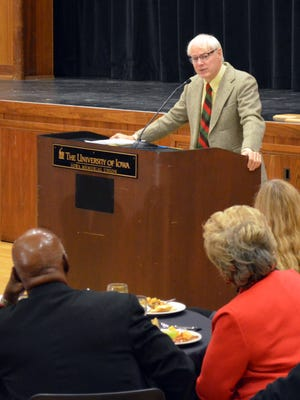 Jim Leach, the former U.S. congressman and current visiting professor of law and public affairs chair at the University of Iowa, delivers the keynote address during Wednesday morning's Human Rights Commission awards breakfast.