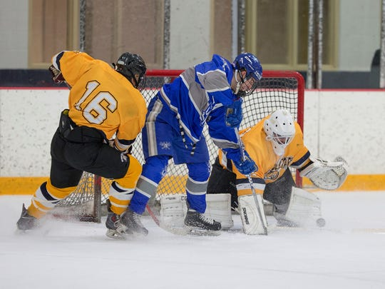 Covering up the puck for Schoolcraft is goalie Matt Monendo, a Livonia Franklin product. Teammate Will Semczak (16) checks a Blue Devil near the crease.