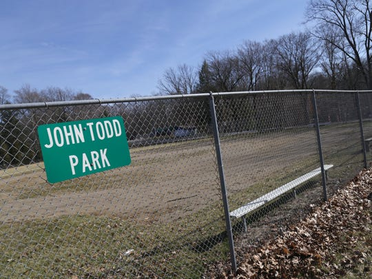The softball field at John Todd Park in South Mansfield.