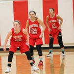Bethel-Tate is ready for a three-pronged defensive attack with sophomore Allison Parks (30), junior Haylee Foster (24) and junior Haley Taylor (21). Taylor recently re-injured a knee that kept her out of activities until this season.