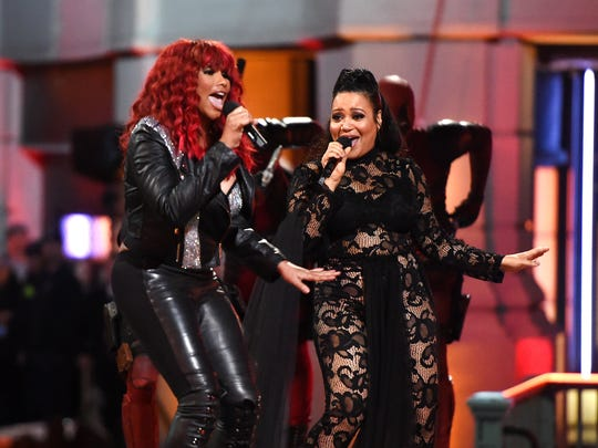 Rappers Sandra 'Pepa' Denton, left, and Cheryl 'Salt' James of Salt-N-Pepa