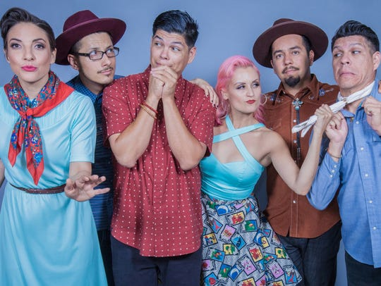Las Cafeteras performs with Orkesta Mendoza at the Sharon Lynne Wilson Center for the Arts Friday.