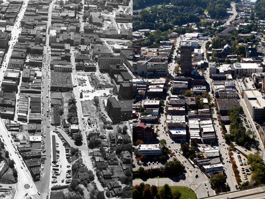 Seen at left is downtown Asheville, looking south,