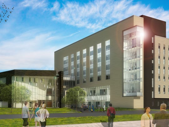 A rendering of the UI College of Pharmacy Building