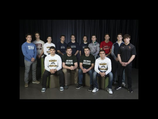 The Asbury Park Press All-Shore Wrestling Team. Front row: Steven Giannios, Kevin Cerruti, Peter Wersinger, Nick Caracappa. Back row: Robert Kanniard, Cole Corrigan, Dean Peterson, Darby Diedrich, Kyle Slendorn, Jerry Lleshi, Joey King, Jake Benner, Luke Gauthier, and Nicko Cofone. Neptune, NJ Tuesday, March13, 2018 @dhoodhood