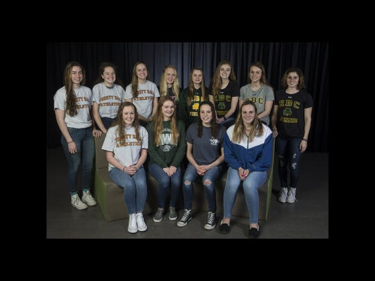 2018 All-Shore Girls Swim team. Front row: Maddie Condon of Trinity Hall, Emma Shaughnessy of Colts Neck, Marie Schobel of Manasquan, and Ginger Hansen of Holmdel. Back row: Lauren Joyce, Ainsley Gmelich, Jess Zebrowski, Trinity Hall, Grace Kayal of Wall, Haley Stamberger, Kelly Smith, Ainsley Stamberger, and Paige Miro, of Red Bank Catholic. Neptune, NJ Thursday, March15, 2018 @dhoodhood