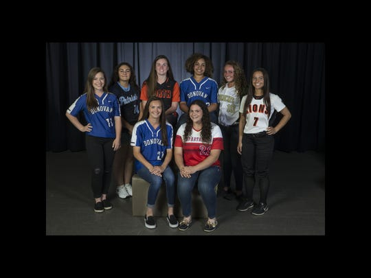 The 2018 All-Shore Softball team- sitting front: Kayla