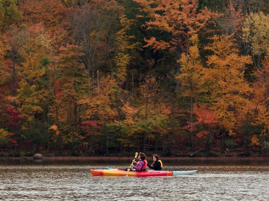 Participants enjoy a fall foliage canoe and kayak paddle at the Splitrock Reservoir in Rockaway Township last year,  organized by the Morris County Park Commission.