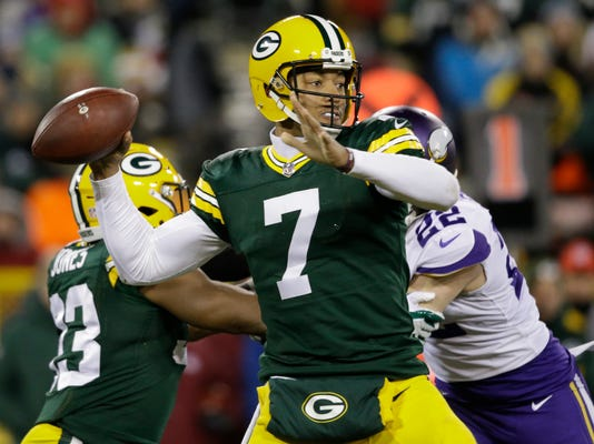 File- This Dec. 23, 2017, file photo shows Green Bay Packers' Brett Hundley throwing during the first half of an NFL football game in Green Bay, Wis. Hundley, who has been Green Bay's replacement for the injured Rodgers, went 17 of 40 and threw two interceptions against Minnesota. That was a step back after he'd thrown six touchdown passes with only one interception over his previous three appearances. (AP Photo/Jeffrey Phelps, File)