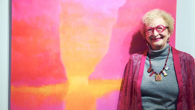 The show in the Robinson Gallery of the Birmingham-Bloomfield Art Center celebrates Leslie Masters: 50 years of a Color Painter. Masters is known for her bright colors in paintings. She is a well-regarded teacher with a cadre of devoted students.