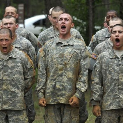 Army recruits participate in basic training at Ft. Benning, Ga., in this 2012 photo.