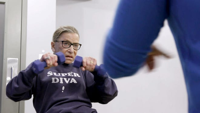 """Justice Ruth Bader Ginsburg mid-workout in """"RBG."""""""
