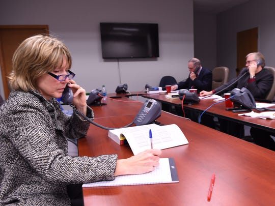 Tracey Niemotko, Professor of Accounting and School of Business Chairperson, Mount Saint Mary College, answers a call to the Poughkeepsie Journal's Tax Counsel Clinic on Wednesday in the City of Poughkeepsie.