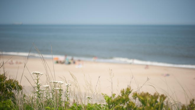 Folks relax at the beach at Cape Henlopen State Park.