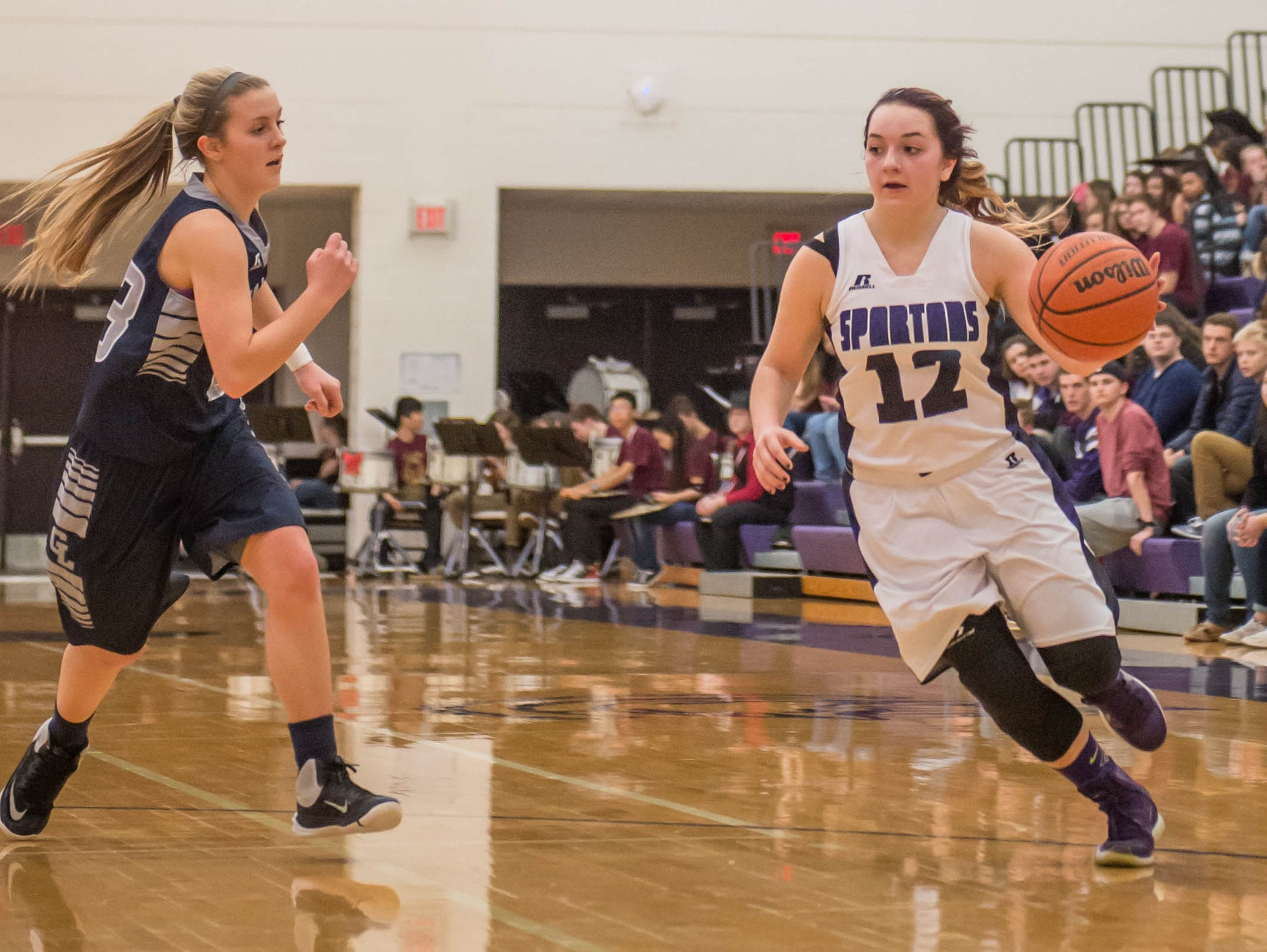 Lakeview's Chloe McAllister drives to the hoop against Gull Lake in Friday evening's game.