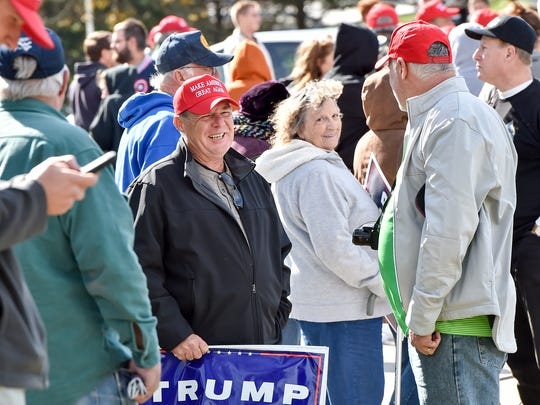 Trump supporters who could not get into the event stand outside  on Saturday, Oct. 22, 2016 at the Eisenhower Complex in Gettysburg, Pa. Trump has a closed campaign event to talk about policy.