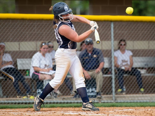 Chambersburg's Leah Hunt hits a home run during the Big Spring softball tournament finals against Greencastle-Antrim on Saturday, April 29, 2017. Chambersburg won 6-1.