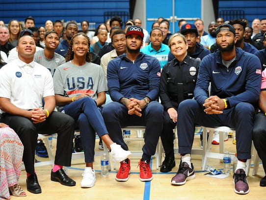 Members of the USA Basketball National Team during