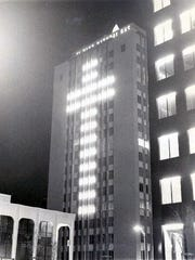 12/16/1971 The annual Christmas cross, seen for many years on the side of the El Paso Natural Gas Co. building.