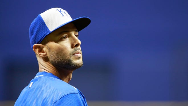 Kansas City Royals rightfielder Alex Rios works out prior to a game against the Tampa Bay Rays at Tropicana Field.