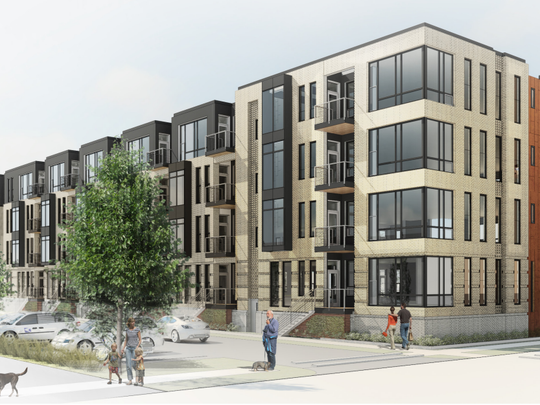 A rendering of an apartment building proposed at the corner of Morris Avenue and Holmgren Way in Ashwaubenon.