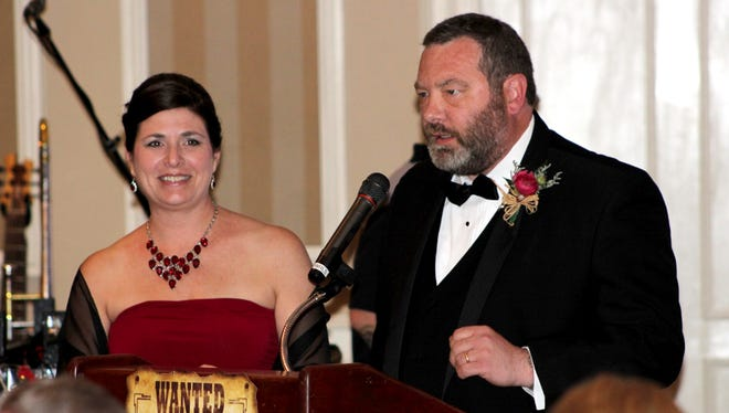 Kimberly and Craig Minetola, of Hanover, share the story of their son, Gavin, an 8-year-old congenital heart defect survivor, at the 2016 York Heart Ball.