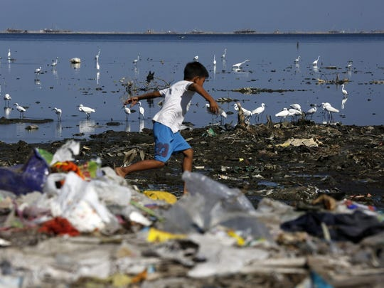 Migratory birds find food at a coastline full of rubbish in Manila, Philippines. According to data from a report of environment advocacy group Ocean Conservancy, roughly eight million tons of plastic enter the ocean every year. Furthermore, over half of the material leaked into the ocean comes from five rapidly developing countries where production and consumption of plastics are outpacing local waste management capacity: China, Indonesia, Philippines, Vietnam and Thailand.