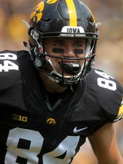 Iowa wide receiver Nick Easley celebrates his 45-yard