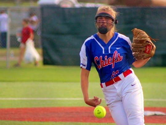 West Ouachita senior pitcher Brittany Hutton (#10) fires a strike against th