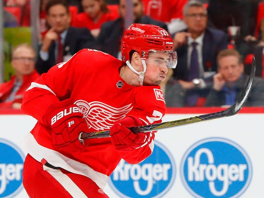 Detroit Red Wings center Dylan Larkin shoots against