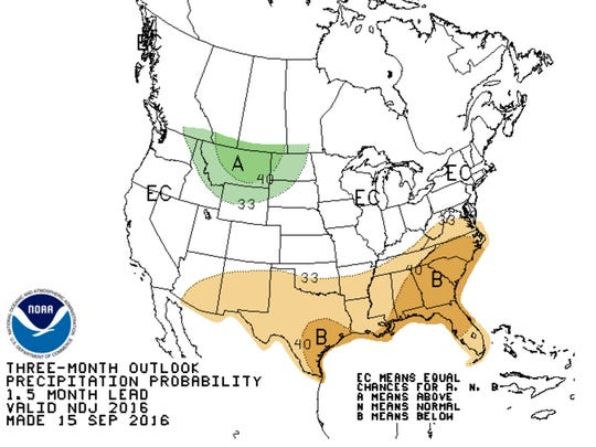 The three month outlook for precipitation.