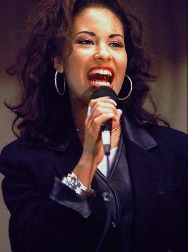 In this Nov. 14, 1994 file photo Selena Quintanilla-Perez