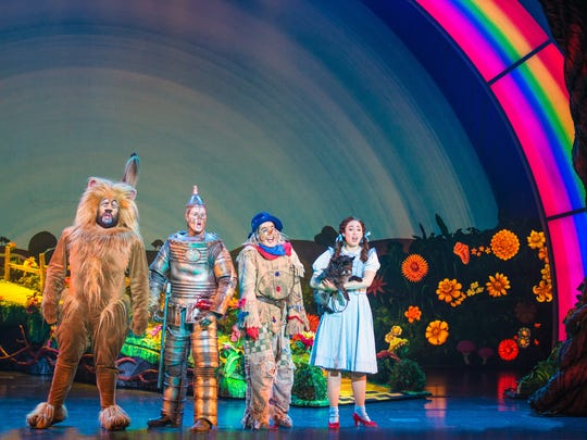 "Aaron Fried, Jay McGill, Morgan Reynolds and Sarah Lasko star in the national tour of ""The Wizard of Oz,"" which runs through Sunday at the Des Moines Civic Center."