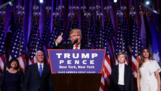 Republican president-elect Donald Trump delivers his acceptance speech.