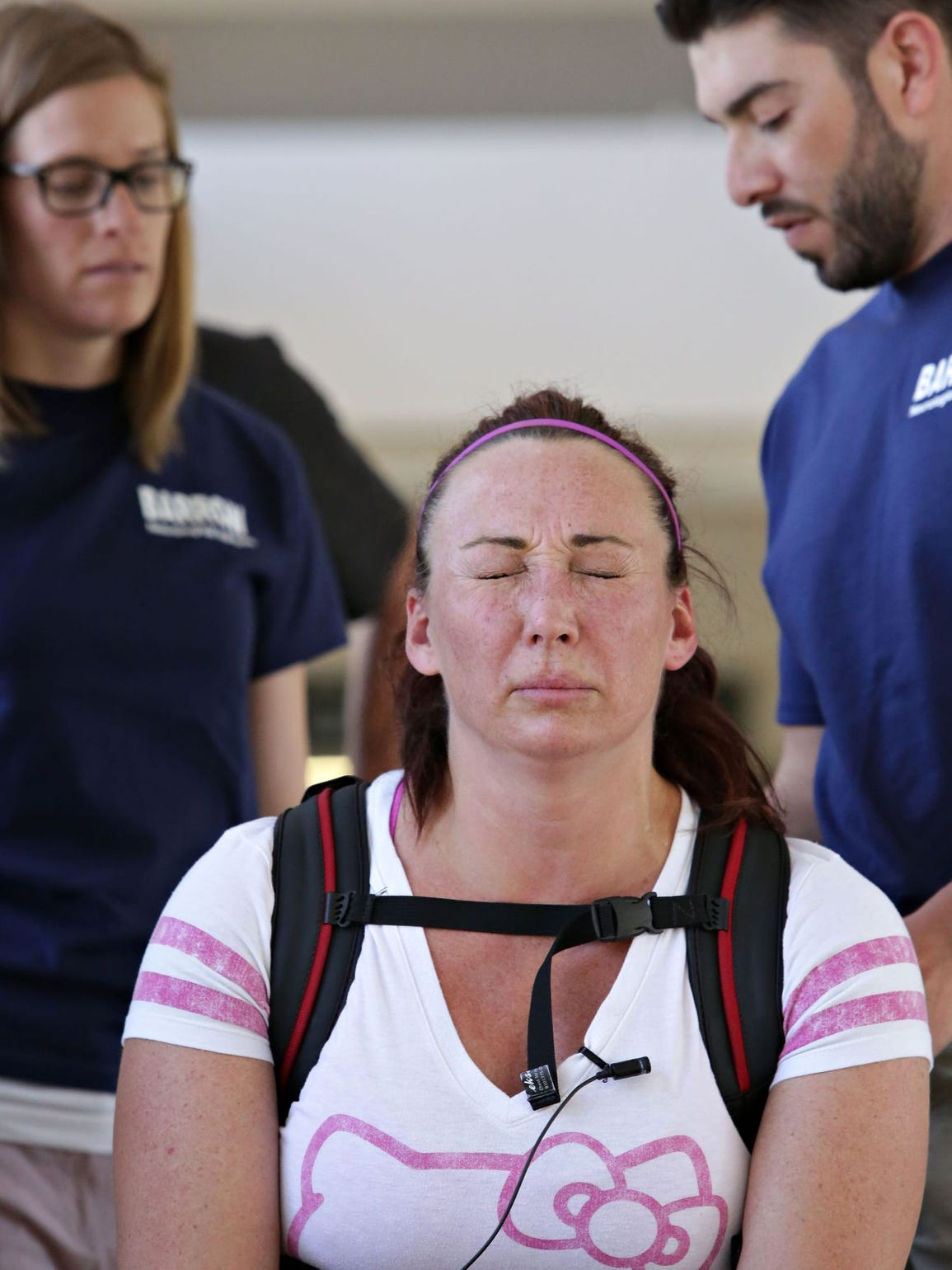 This is hard: Amy Van Dyken-Rouen faces another lap.