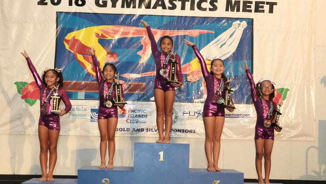 The Level 3, ages 8-9 all-around finishers: Xaelia Quintanilla in first, Kaelana Quiambao in second, Hailey Fejeran in third, Kaeani Cruz in fourth and Sadie Guerrero in fifth.