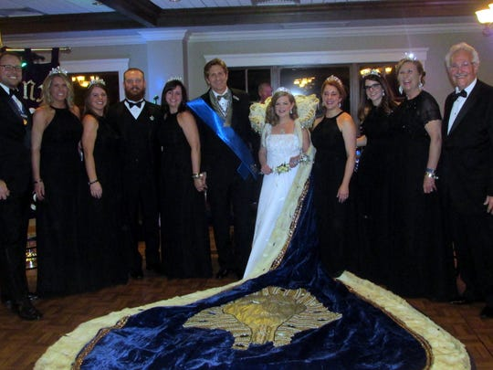 Grand Krewe of Sphinx 2017 coronation. From left, Thomas Holmes Jr., Heather Smith, Loghan Smith, James Taylor, Carmen Vincent, king John Vincent, queen Kim Flynn, Leslie Darr, Molly Goggans, Kathleen LaFlore and Sam Zalowitz.