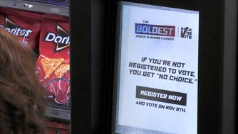 Doritos is going to put messages on video screens on vending machines to try to drum up interest in voting