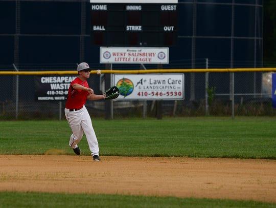 West Salisbury Senior League's Brandon Underwood practices