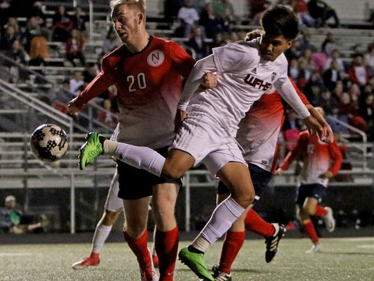 Wichita Falls High School's Johan Hernandez kicks the