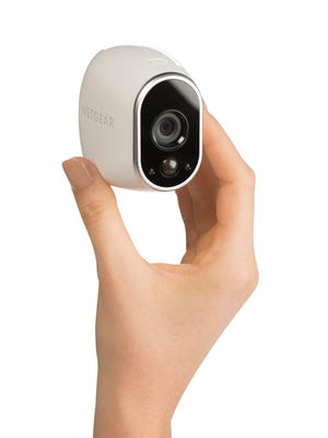 The Arlo from Netgear is motion-activated, works in near-darkness, has 130-degree view and can be set up within an app to record for specific intervals.