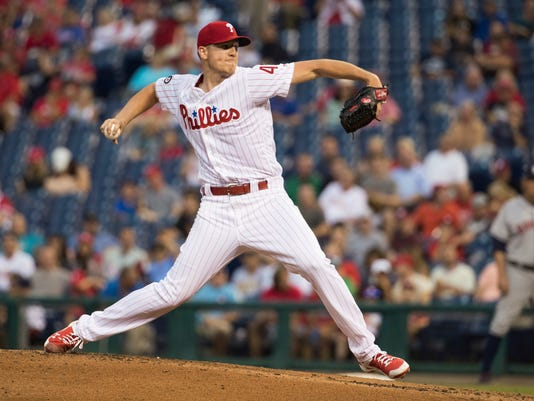Philadelphia Phillies starting pitcher Nick Pivetta throws a pitch during the third inning of a baseball game against the Houston Astros, Tuesday, July 25, 2017, in Philadelphia. (AP Photo/Chris Szagola)