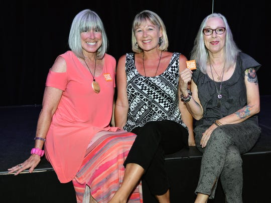 Shaun Kelly, Lisa Barrett and Dottie Falvi at Out Laugh Hunger at the Sunrise Theatre's Black Box.