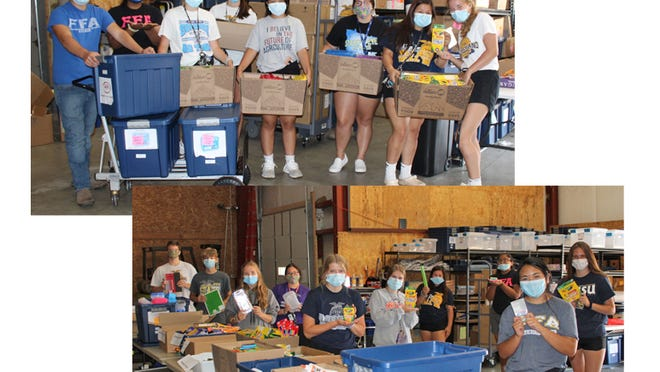 Top photo - FFA members helped to inventory all of the school supplies for the United Way Backpack Project. Pictured from left: Brennen Meyer, Leisha Martinez, Morgan Hoffmann, McKenna Dockter, Katelyn Capacia, James Mathiowetz (Summer Intern), Presley Bauer, Nayzeth Luna, and Miah Brown. Bottom photo - This FFA crew packed the Covid kits, sorted all of the last school supply items, and packed 48 backpacks for Sleepy Eye Public School students. Pictured from left: Alex Joramo, Adam Johnson, Miah Brown, Presley Bauer, Morgan Hoffmann, Maddi Helget, Nayzeth Luna, Leisha Martinez, Katelyn Capacia, and McKenna Dockter.