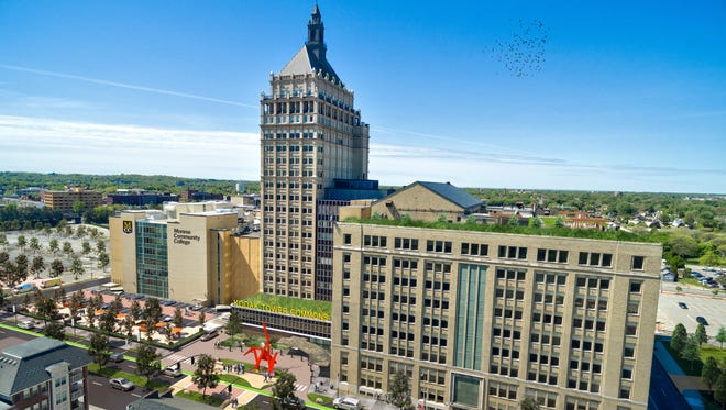 A concept of a remade Kodak Tower Commons and Monroe Community College campus.