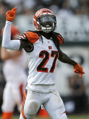 Bengals cornerback Dre Kirkpatrick reacts to a defensive stop during the Bengals' victory over Oakland last week.