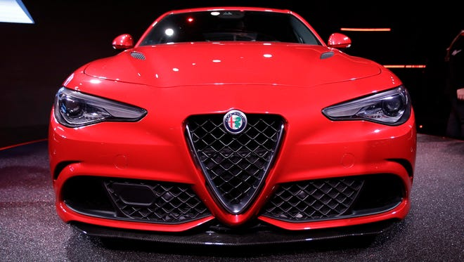 The new Alfa Romeo Giulia sedan is shown during the official presentation, in Arese, near Milan, Italy,