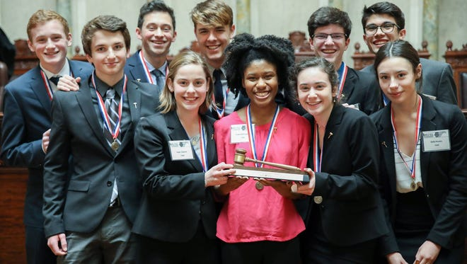 Members of the state champion Shorewood Mock Trial Team (from left, front row) are Harris McCafferty, Katie Cheever, Shilei Bell-Lipsey, Lena Essak and Bella Riviera, (back row) Nick Howland, Brendan Fardella, Cal Curran, Thomas (Owen) Manion and Will Aldana.