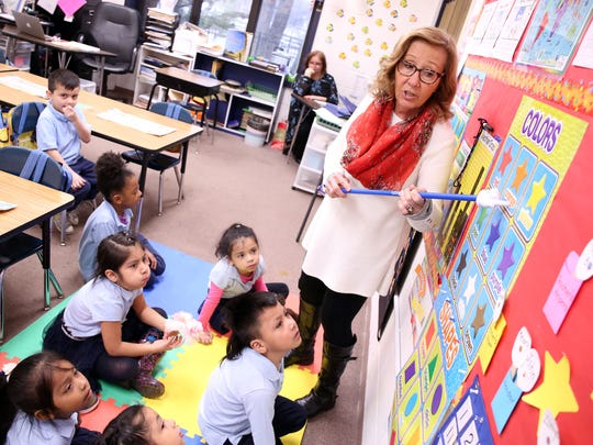 Diane Oxley teaches her kindergarteners about colors at The Ocean Academy Charter School in Lakewood. The school just opened in September. They teach about 160 kids in K-2nd grade. Lakewood, New Jersey. Monday, April 16, 2018.