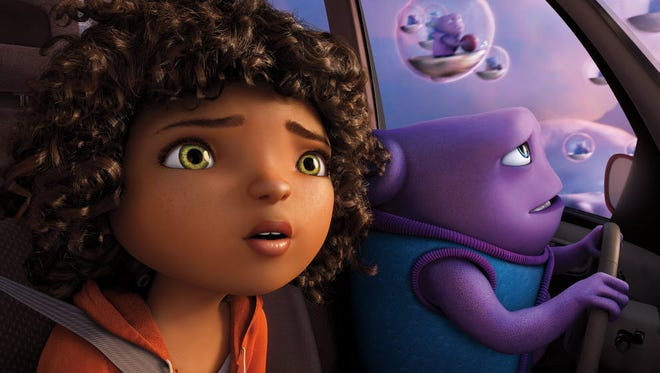 """Tip (Rihanna) and Oh (Jim Parsons) take to the skies as they embark on an incredible global adventure in a scene from the animated motion picture """"Home."""""""
